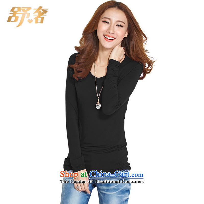 The extravagance to Shu xl women 2015 Autumn new shirt mm thick simple Sau San modal forming the tight shirt solid long-sleeved T-shirt, black girl燲XL