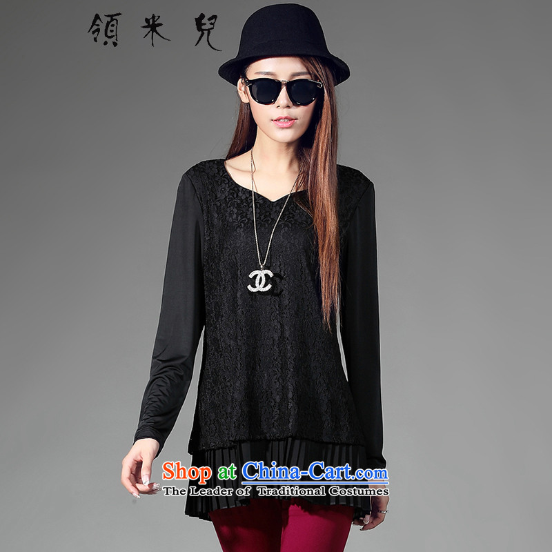 For M-?2015 to increase the number of women in the autumn of Korean New fat mm lace long-sleeved T-shirt, forming the Netherlands W5027?XXXXL black