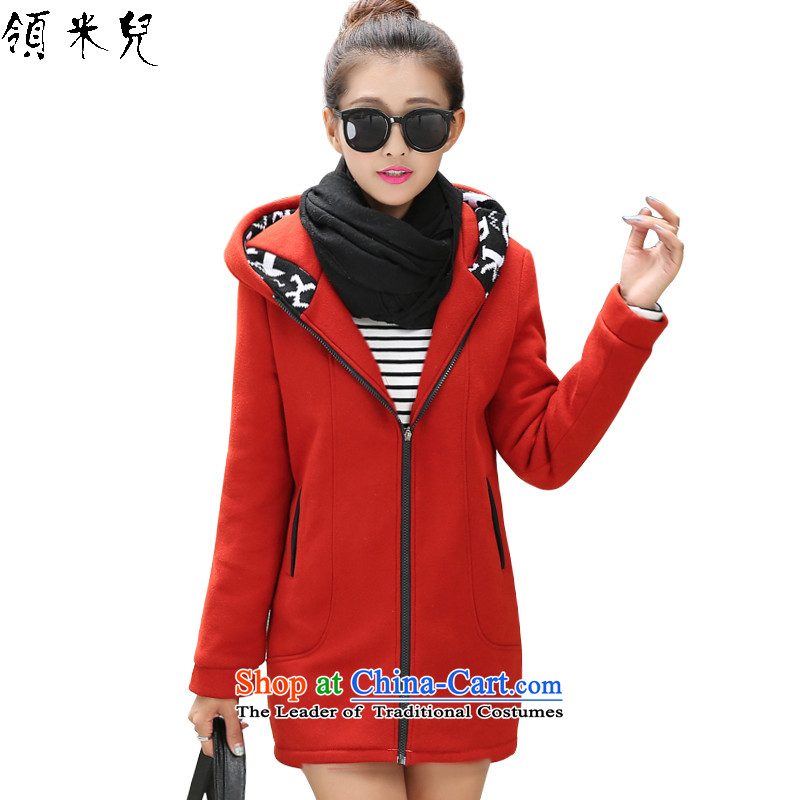 For M- 2015 to increase the number of ladies Fall/Winter Collections new thick mm video plus thin lint-free thick sweater cardigan hoodie Y1168 3XL wine red