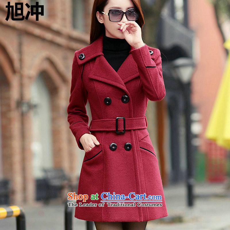燤s. Chong Wook 2015 Autumn boutique style boxed products OL temperament gross? jacket double-cashmere cloak over the medium to longer term, wine red燣