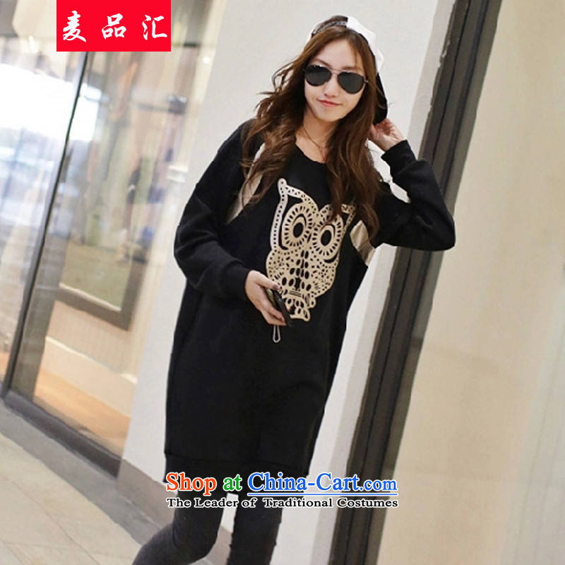 Mr Hui 2015 thick mm no. autumn and winter to increase women's code in long thick sweater 200 catties thick sister extra T-shirt skirt 076 Black 5XL recommendations 180-200 catty