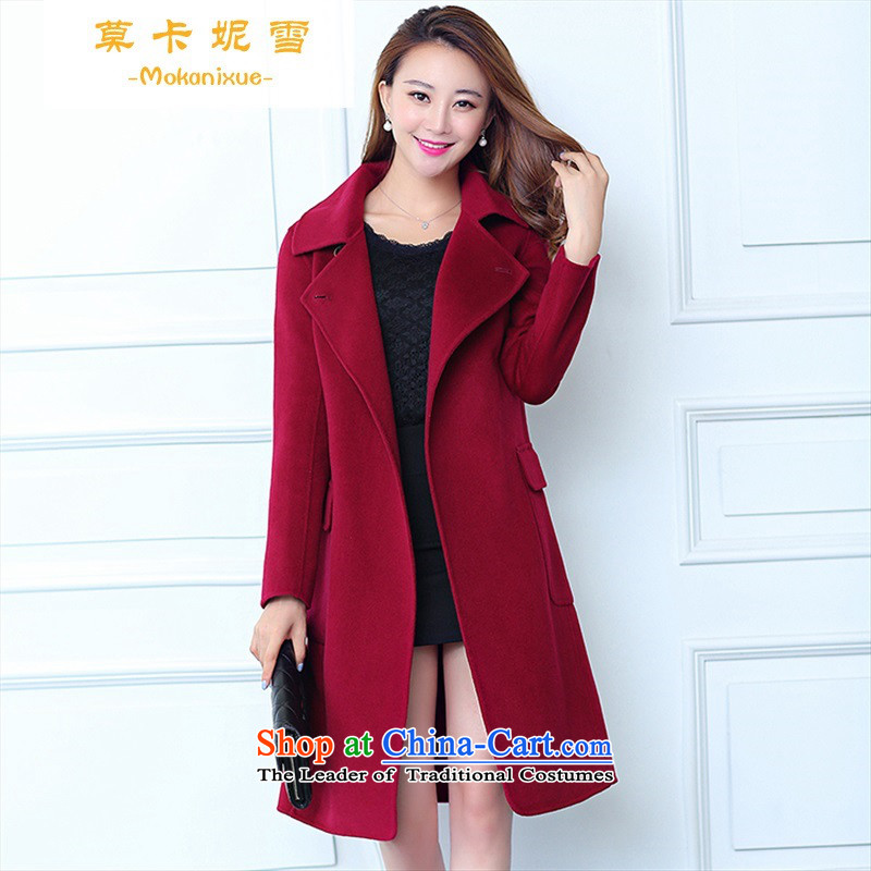 Morcar Connie Snow European site 2015 autumn and winter new two-sided cashmere overcoat female long-sleeved lapel long hair? high-end jacket female wine red S