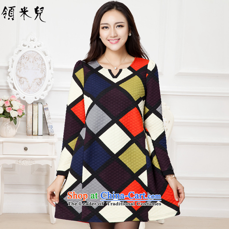 For M- 2015 to increase the number of ladies Fall_Winter Collections new Korean grid stamp, Hin thick long-sleeved forming the thin dresses K050 3XL Suit