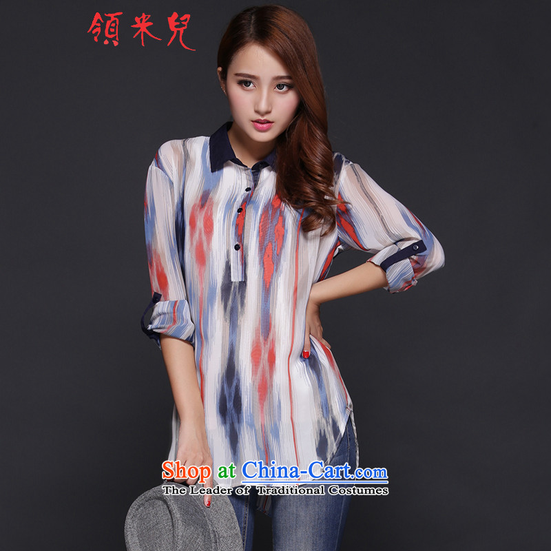 For M- 2015 to increase the number of women in the autumn of Korean New fat mm very casual streaks long-sleeved shirt stamp chiffon Y1267 picture color 2XL