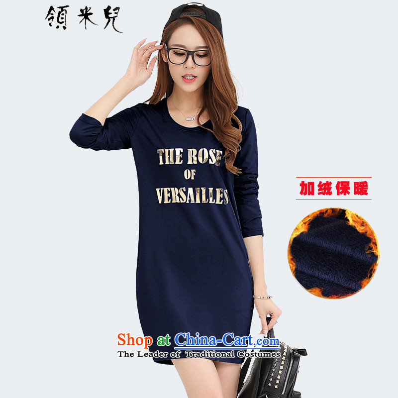 For M-�15 to increase the number of women with new Fall_Winter Collections Of Video thin stamp thick gold plus lint-free long-sleeved forming the thick dresses Y1301B Po blue velvet�L