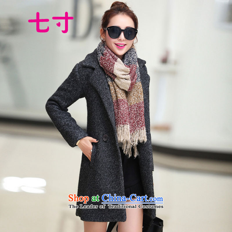 7 inch 2015 winter clothing new Korean lapel in Sau San long hair? coats female 8818 black and gray XL requires scarves contact customer support