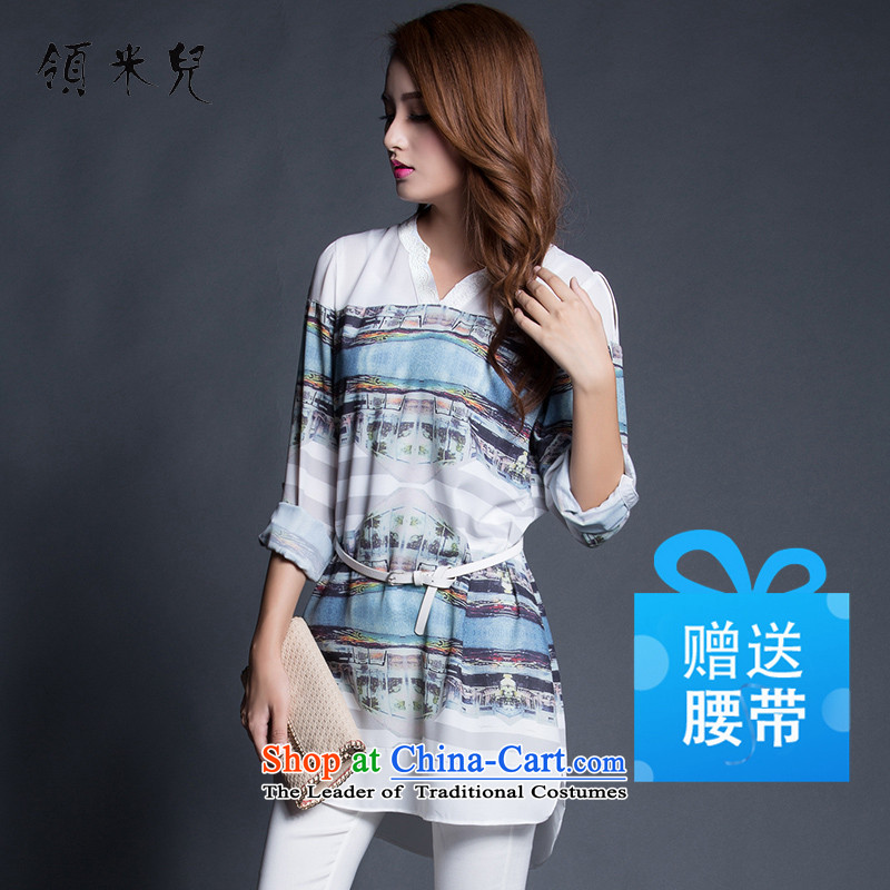 For M- 2015 to increase the number of women in the autumn of New mm thick clothes in the stamp chiffon long Leisure long-sleeved T-shirt Y1265 female light blue 3XL stamp