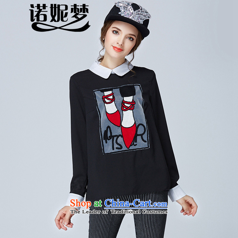 The Ni dream new) Autumn 2015 Europe 200 catties to increase women's Code Red Shoe stylish mm thick embroidered clothes s1899 long-sleeved shirt female black XXXL