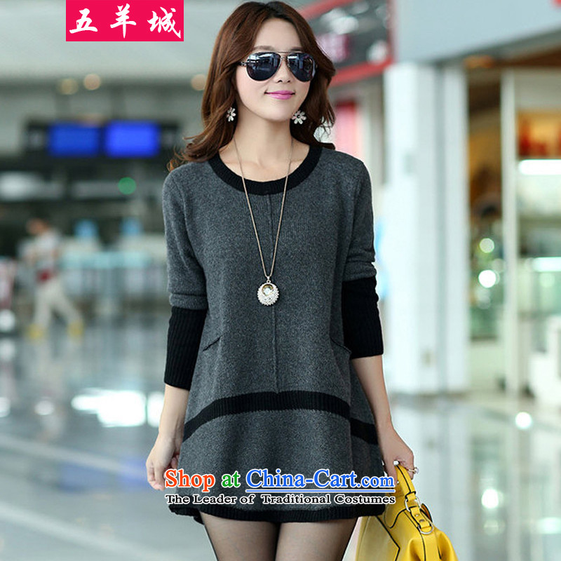 Five Rams City larger female Autumn and Winter Sweater to increase load new dresses in mm thick long stylish wild thick sister leisure video thin gray 3XL_160-180 Knitted Shirt 156 catties