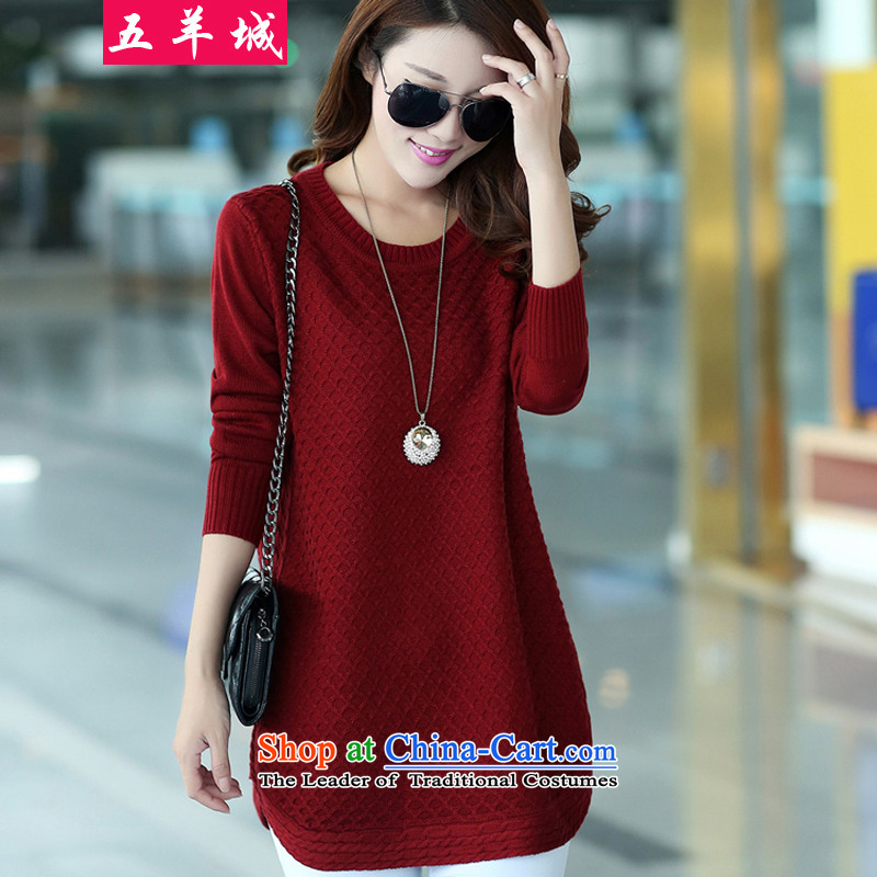 Five Rams City larger women's long-sleeved T-shirts autumn 2015 autumn and winter new larger sweater thick MM Sleek and versatile in long thick sister knitwear wine red 3XL_160-180 158 catties