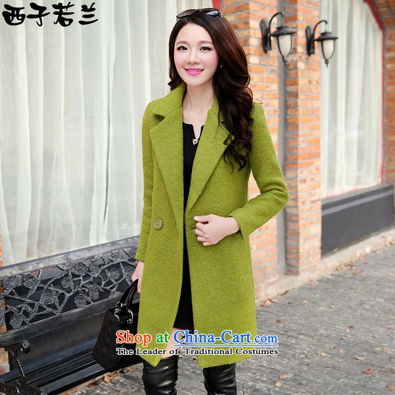 Hsitzu jorin coats, wool? long jacket,HHYL1085 _Green_ M