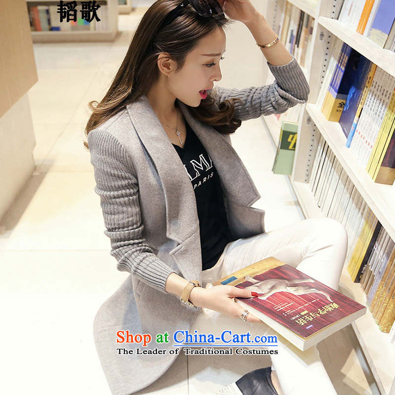 Replace the spring and autumn Song Tao New Fat MM to increase women's code Korean Sau San a wool coat in the leisure long jacket C2104 2XL recommendations around 922.747 Paras. 135-145