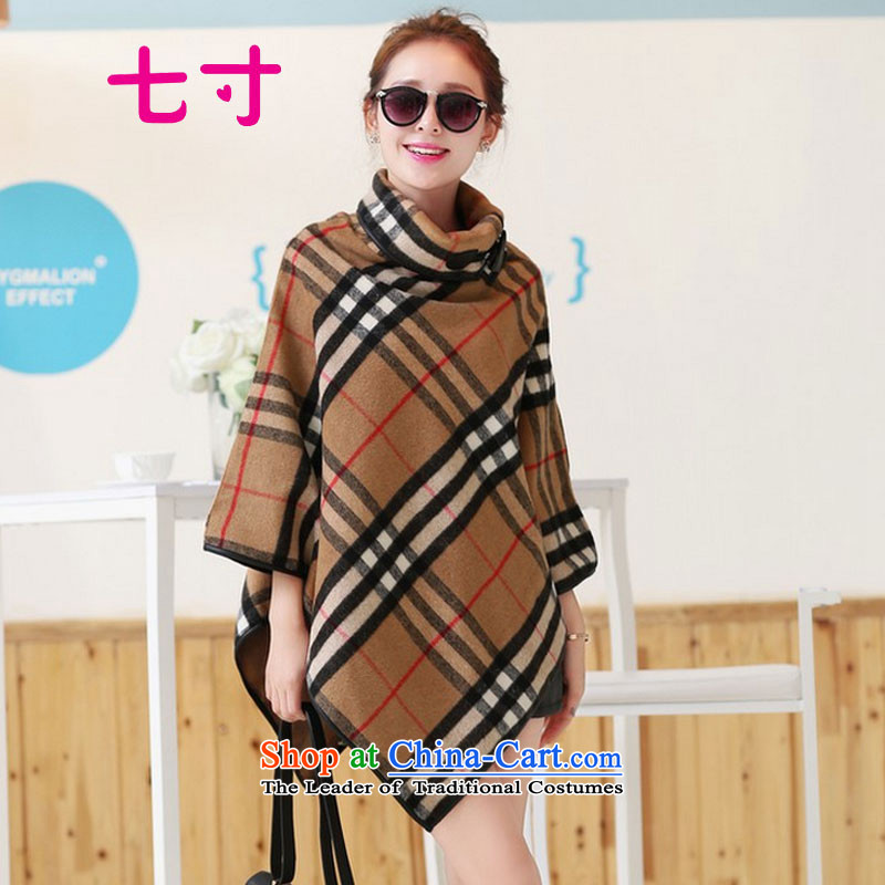 Seven inches� 2015 Autumn new Korean Sau San grid gross coats jacket female�2?燾offee code