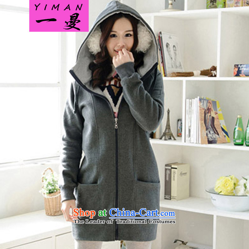 A large Cayman female autumn and winter jackets thick mm long-sleeved plus 200 catties of lint-free thick female graphics thin, long, thick sister Sau san wei yi coat 57 Dark Gray�L recommendations 140-160 characters around 922.747