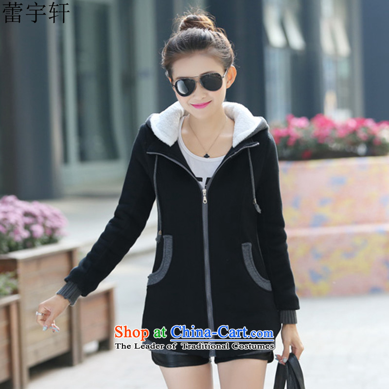 Lei Yu Hsuan 2015 winter new plus lint-free sweater in thick long large sweater jacket female autumn and winter thick cardigan black XXL