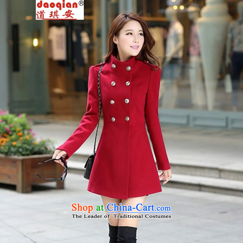 Chyian Road 2015 autumn and winter new products Women Korean large Sau San windbreaker. Long stand collar long-sleeved gross overcoats autumn load? The girl child? largest jacket wine red L