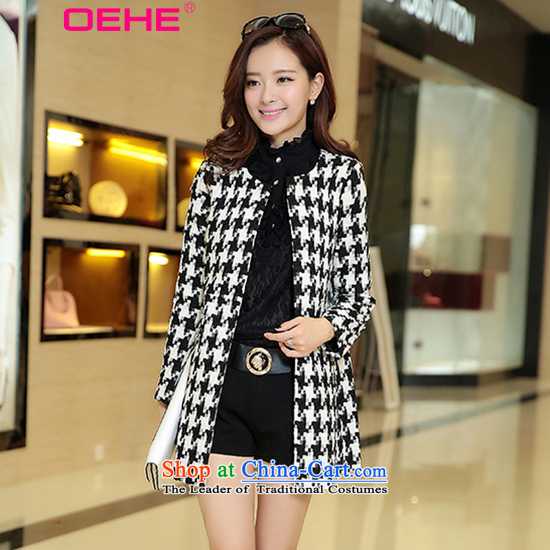 Install the latest Autumn 2015 OEHE, Korean long in Sau San chidori extra sets of female stylish graphics thin round-neck collar long-sleeved black and white coats of gross?燤