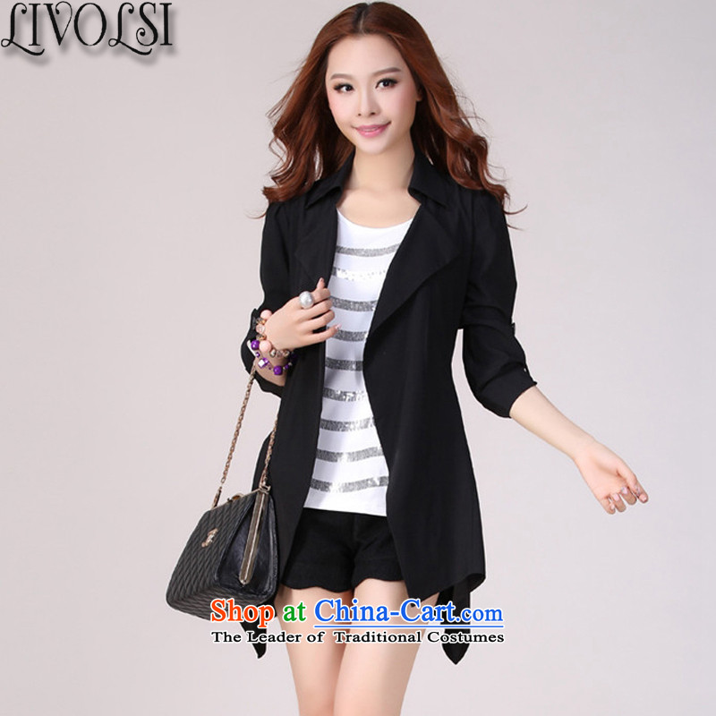 The new 2015 Autumn livolsi light jacket female western fertilizer Borneo casual simplicity larger female suits for Long Hoodie spring and autumn black�L
