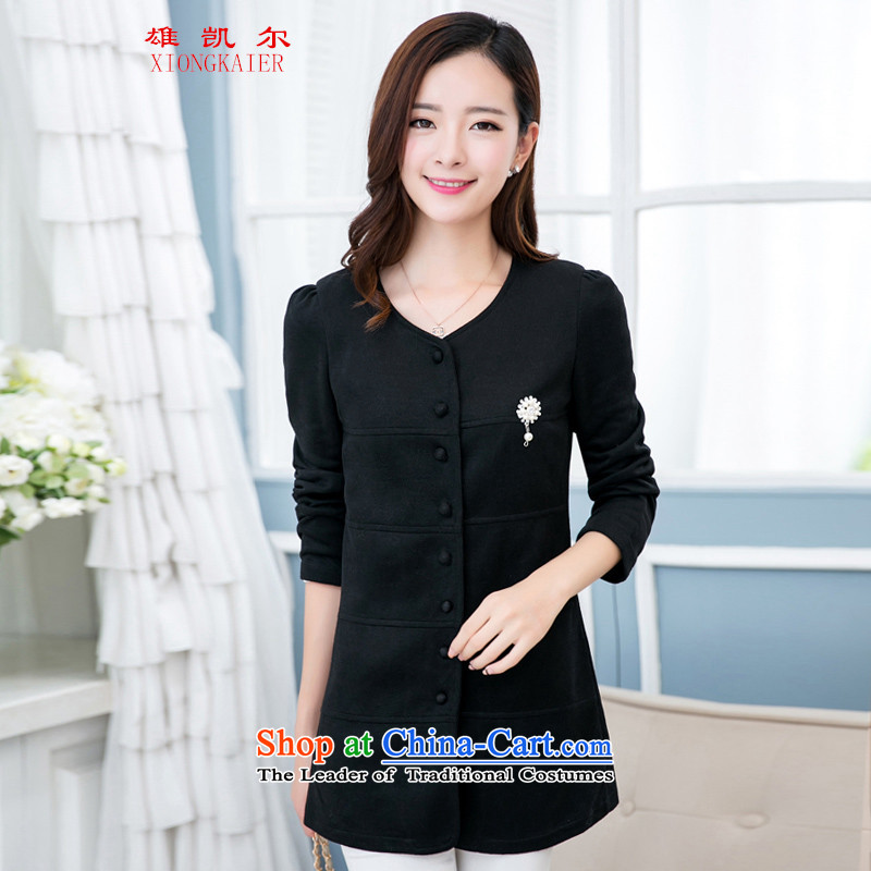 2015 new products new larger female autumn jacket in mm thick long thin thin Knitted Shirt graphics cardigan sister to thick coat Sleek and versatile jacket coat black 4XL recommendations 165-185 catty