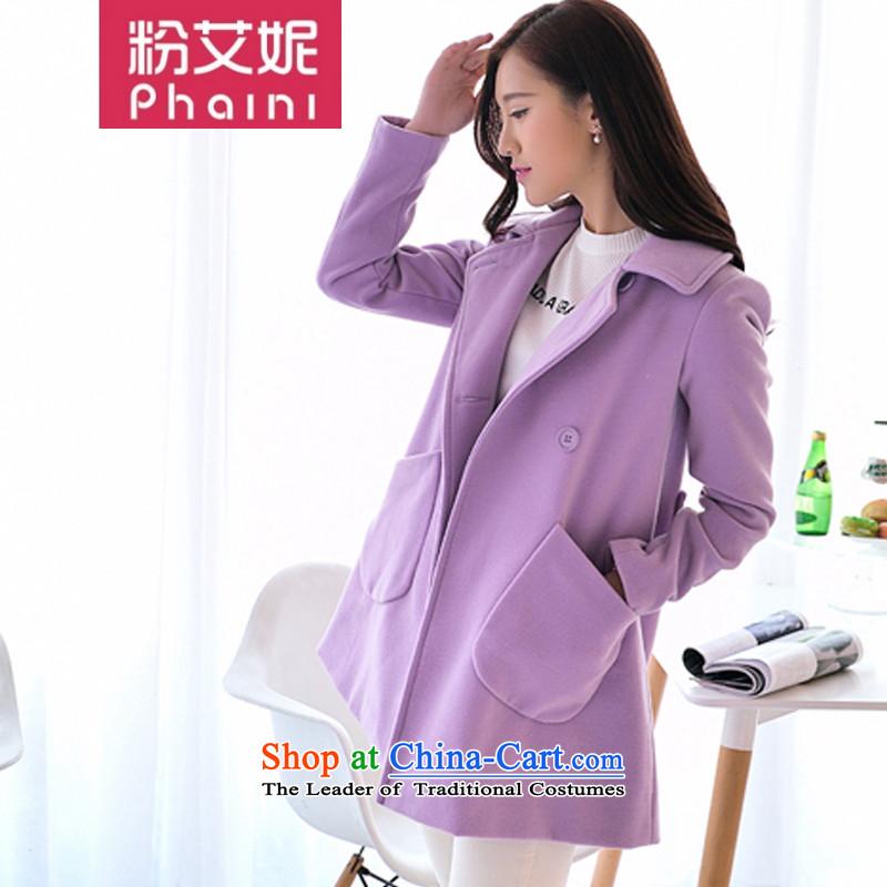 The new 2015 gross? jacket coat female Korean autumn boxed version long roll collar windbreaker girls a wool coat cloak 932 gross? female purpleS Jacket