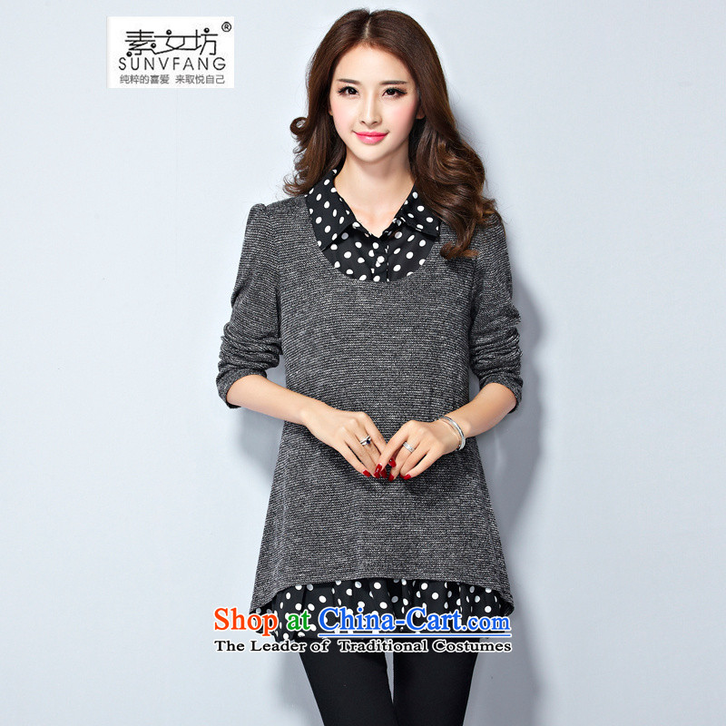 Motome Workshop  2015 autumn large load women 200 catties thick mm video thin shirt lapel knitwear leave two long-sleeved T-shirt 8085 gray 5XL 180-210 recommended weight catty