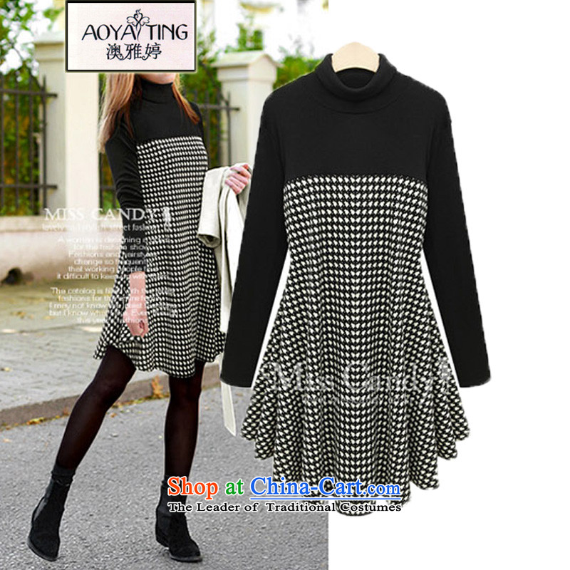O Ya-ting to increase women's code 2015 autumn and winter new thick mm video thin chidori grid spell back and skirt wear long-sleeved shirt girls high collar skirts black4XLrecommends that you 160-180 catty