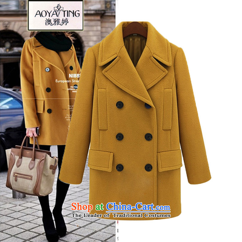 O Ya-ting to increase women's code 2015 autumn and winter new mm thick and long, thin video a wool coat double-jacket female 802 gross?5XL yellow175-200 recommends that you Jin