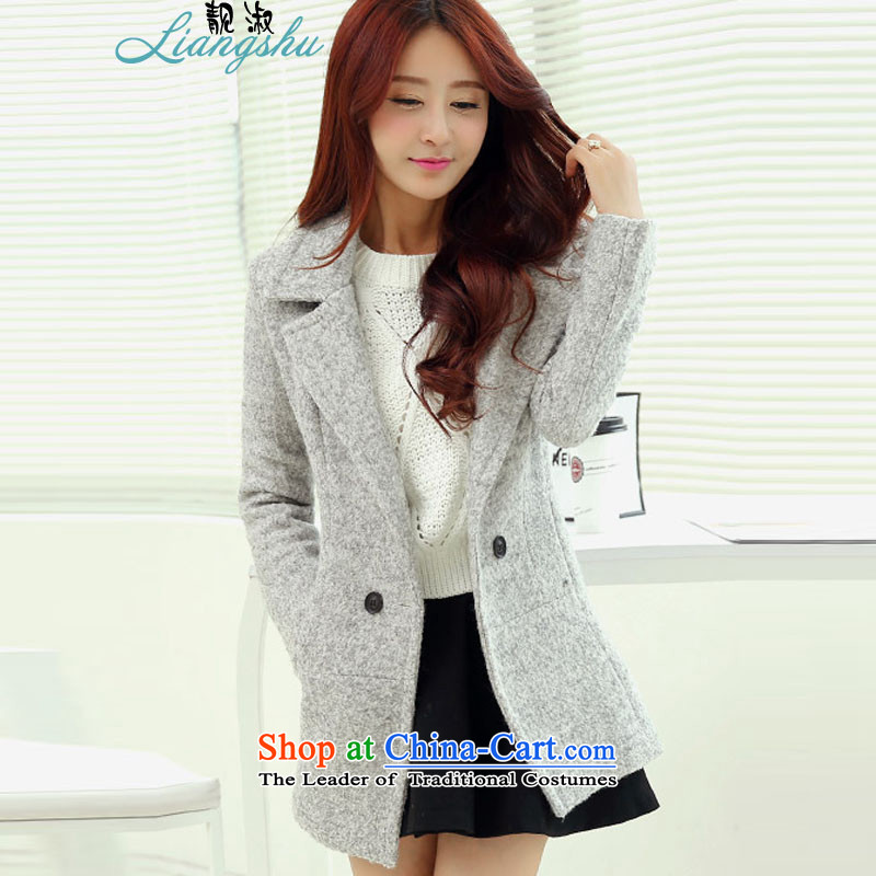 The talks by 2015 Mrs windbreaker girl in long spring and autumn Korean new large stylish long-sleeved pure colors Sau San lapel gross? female autumn and winter coats thin gray L graphics