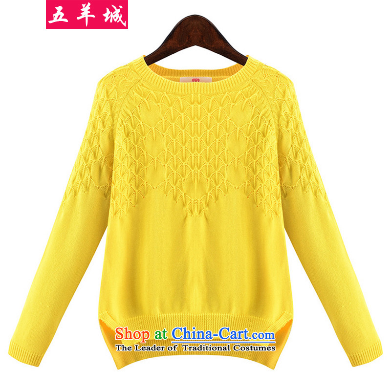 Five Rams City large long-sleeved sweater knit-2015 autumn and winter new products warm large European and American women thick MM THIN forming the graphics sweater 655 yellow�L recommendations 140-160 characters around 922.747
