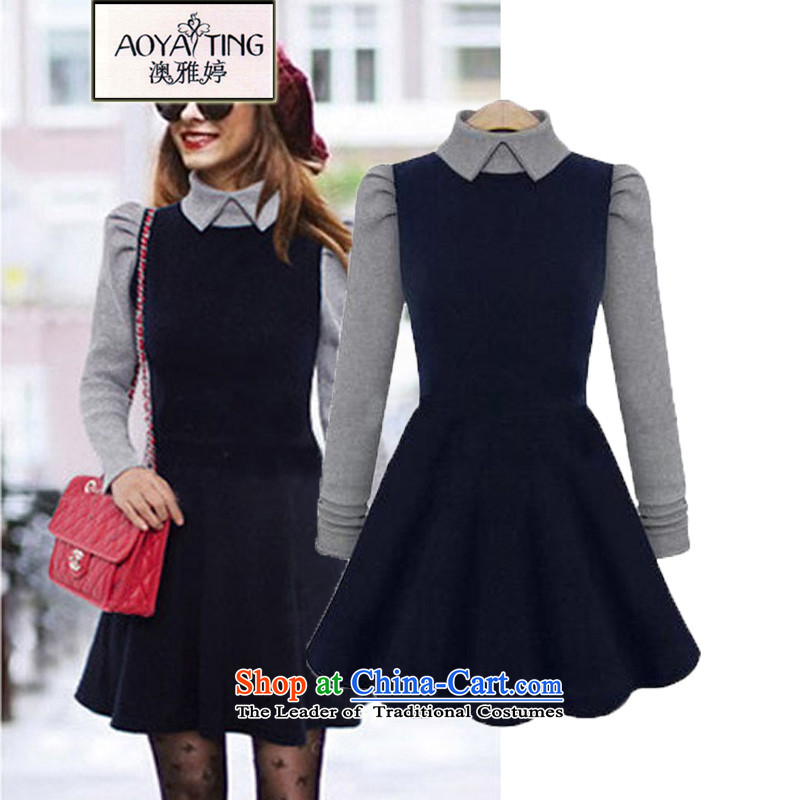 O Ya-ting to increase women's code 2015 autumn and winter dresses thick mm new graphics thin long-sleeved Knitted Shirt female dolls, forming the basis for 662 dark blue skirt XL 115-128 recommends that you Jin
