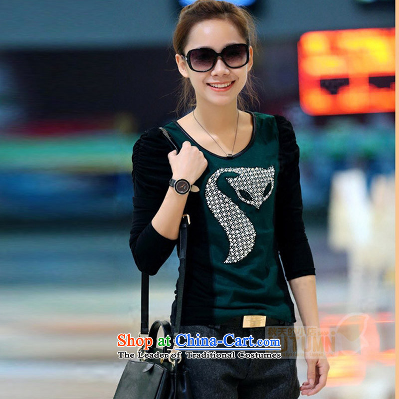 Create the聽 autumn 2015 billion won the new version of the Sau San plus lint-free round-neck collar forming the Netherlands stylish fox ironing drill long-sleeved T-shirt green聽L