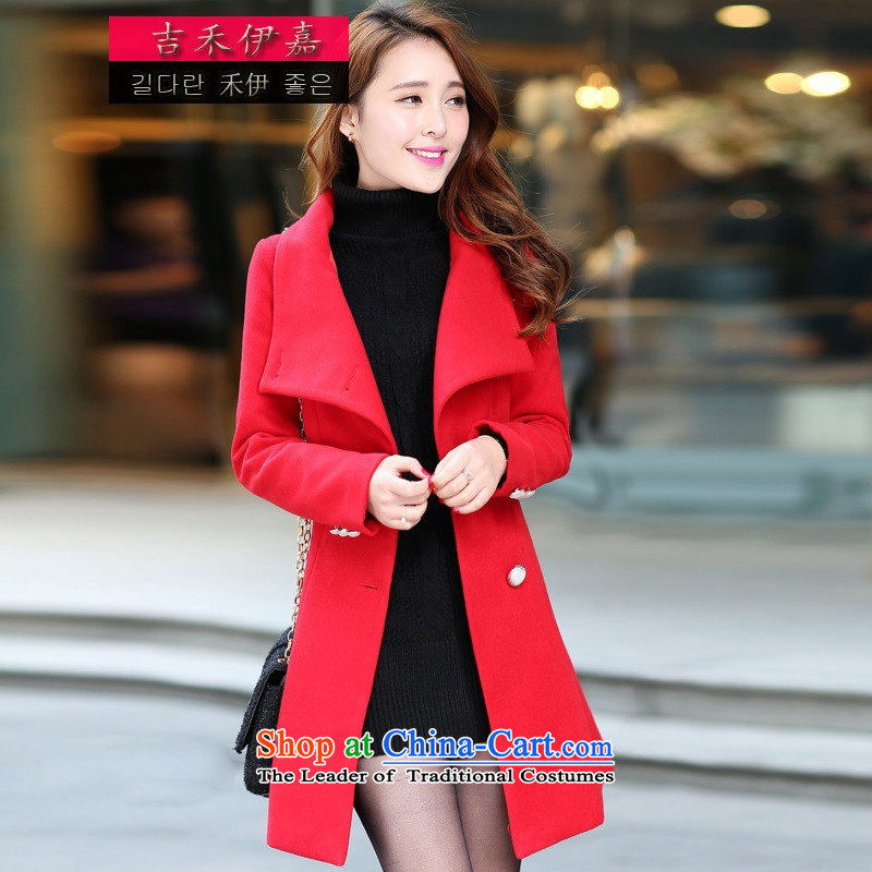 Gil Wo Ika_ 2015 Autumn marriages Connie sub-coats the lift mast bows dress large red jacket Korean gross? large stylish girl wild red燣