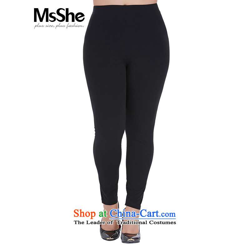 Msshe xl female new summer 2015 cotton stretch elastic band Waist Trousers, forming the basis of 7 to 4745 black trousers燭4