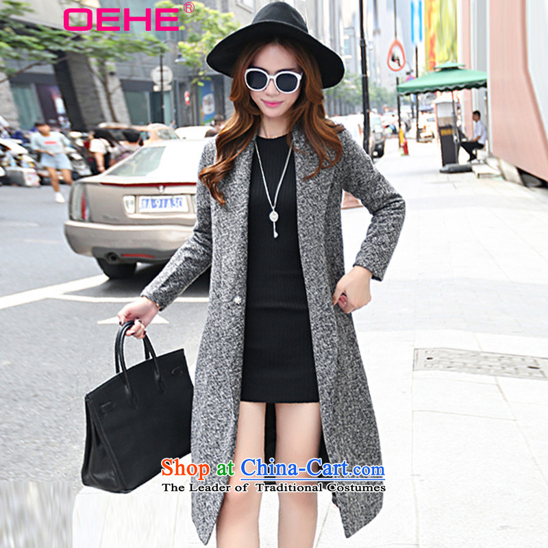 Install the latest Autumn 2015 OEHE, Korean long jacket, Sau San stylish girl graphics for long-sleeved gross thin suit coats Gray聽L?