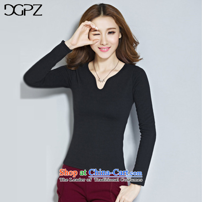 Large DGPZ women forming the Netherlands 2015 autumn and winter new graphics thin long-sleeved shirt VRF10061 black燣