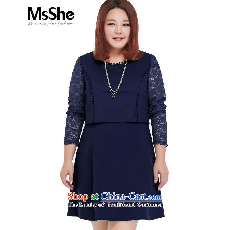Msshe xl women 2015 new autumn replacing thick sister knitting lace spell back and skirt 10092 blue 4XL