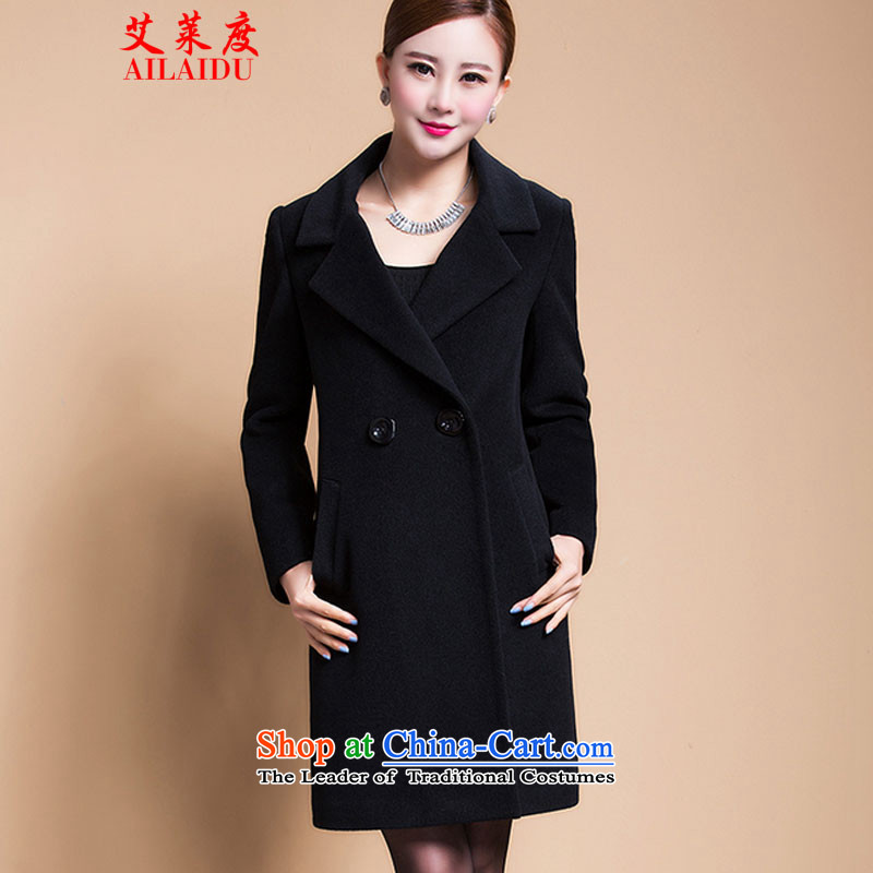 The Aileu degrees gross? 2015 autumn and winter coats new windbreaker larger female Korean cashmere overcoat thick long suit in a black jacket wool 4XL