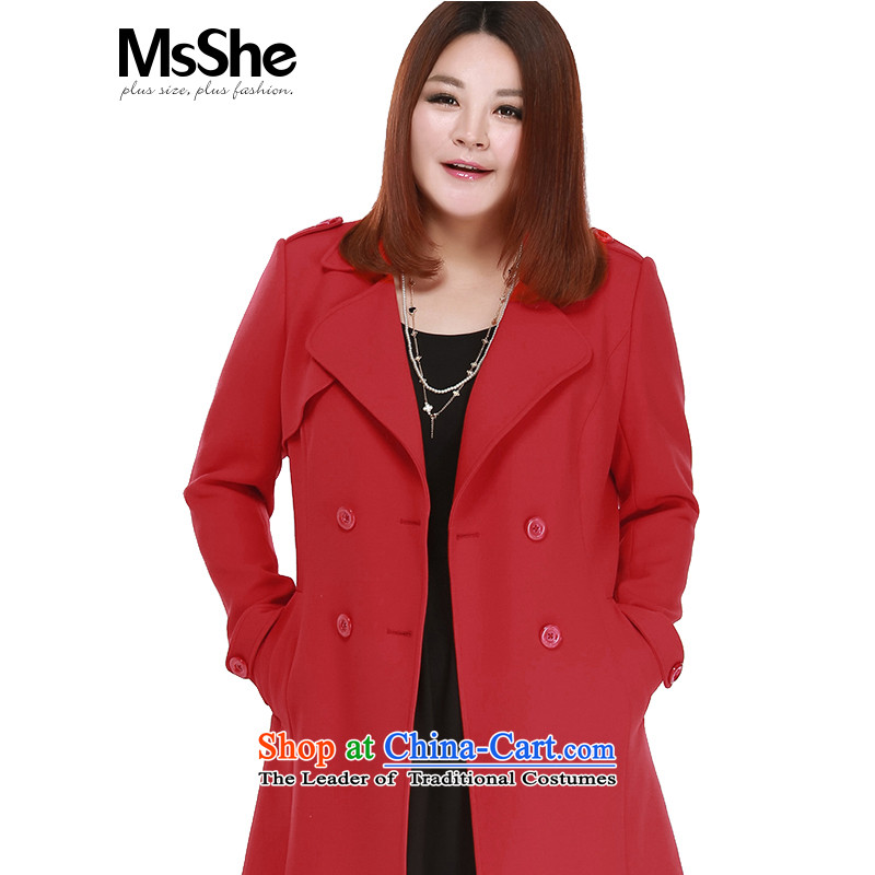 Large msshe women 2015 new autumn long_ women's double-thick wind jacket 10223 MM red 3XL
