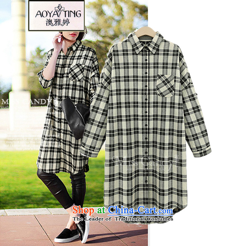 O Ya-ting to increase women's code 2015 autumn and winter new thick mm thin Korean version of the video segments of the shirt, long, loose Dress Shirt D3065XL black and white childrenrecommends that you 175-200 catty