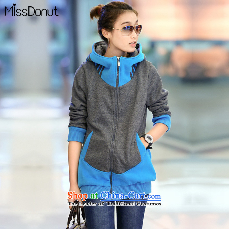 The ad to increase missdonut code ladies casual clothing of 200 catties autumn and winter thick mm in length) Video sister thin cap sweater jacket female large blue 3XL code
