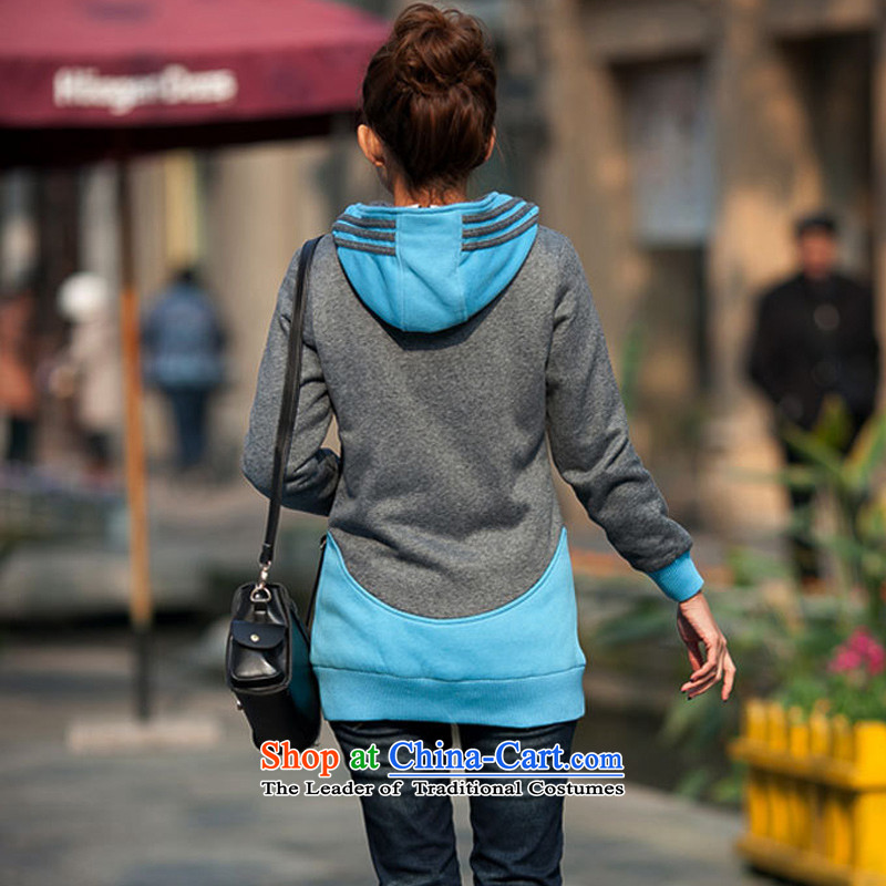 The ad to increase missdonut code ladies casual clothing of 200 catties autumn and winter thick mm in length) Video sister thin cap sweater jacket female large blue code 3xl,missdonut,,, shopping on the Internet
