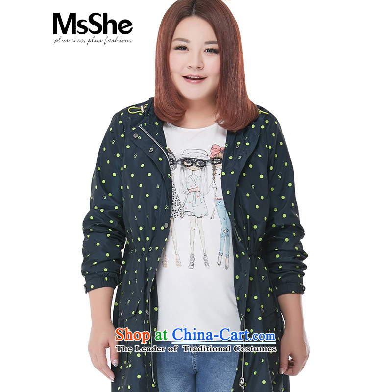 To increase the number msshe women 2015 new fall with coat wave point wind jacket 8,693 Blue 3XL