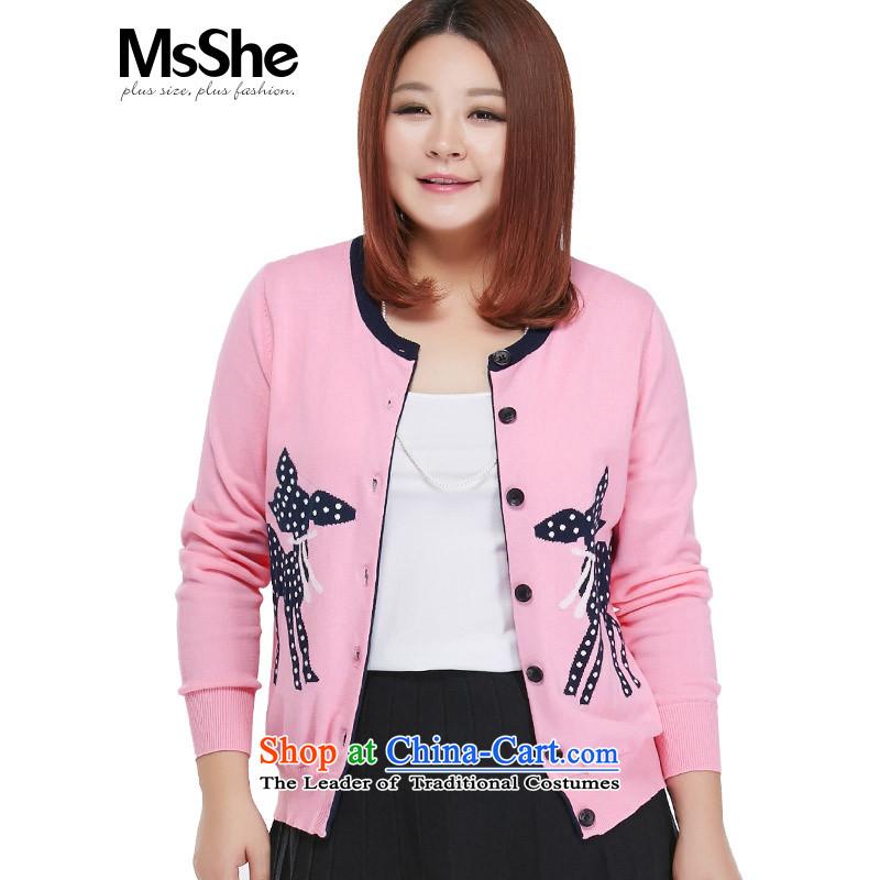 Msshe xl women 2015 new MM thick cotton load autumn knitting cardigan sweater jacket 4587th pink4XL