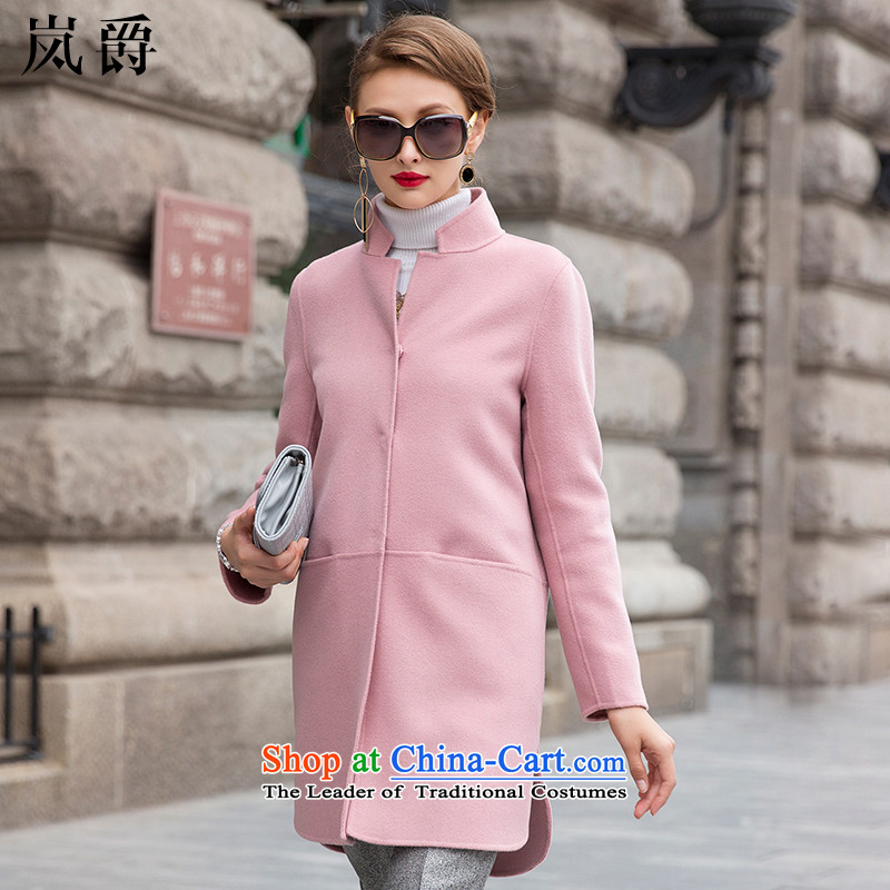 Lord of the sponsors of the爊ew high autumn 2015-manual two-sided Fleece Jacket female Pure wool is a wool coat in long 8111 pink燤