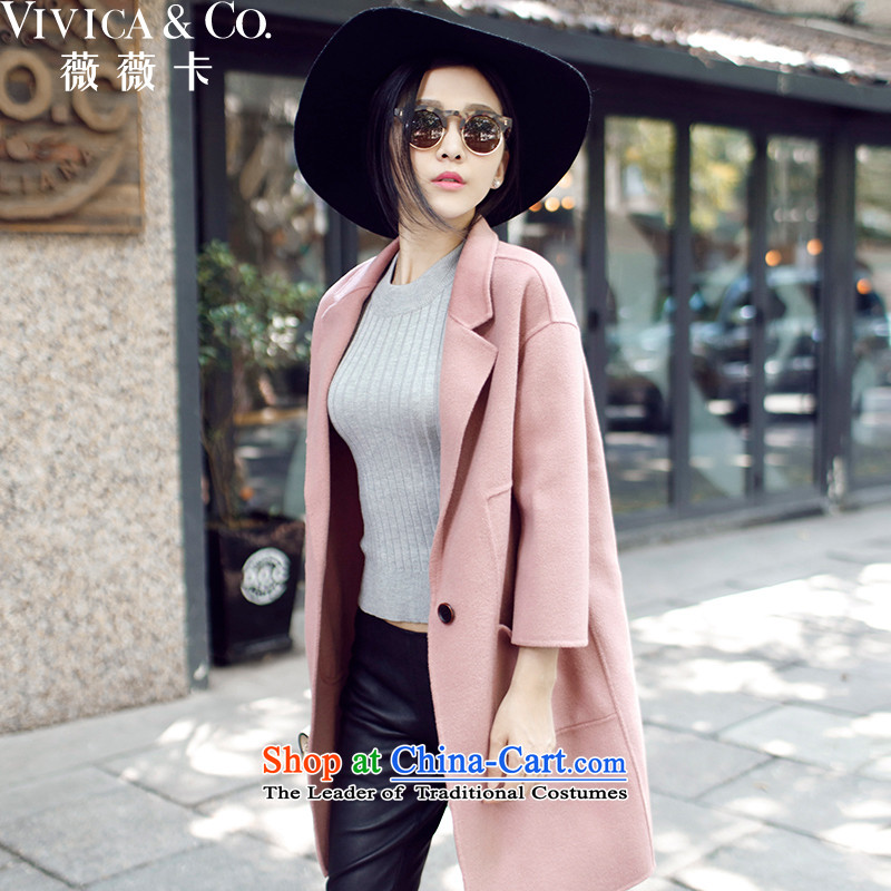 Weiwei Card 2015 autumn and winter new Korean hand-cashmere overcoat female long jacket, 1355 pink燬