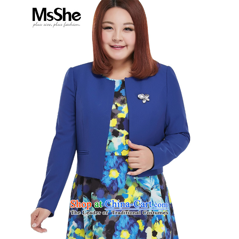 Large msshe women 2015 new mm thick autumn round-collar short of replacing small jacket 10,071 Blue聽6XL Cardigan