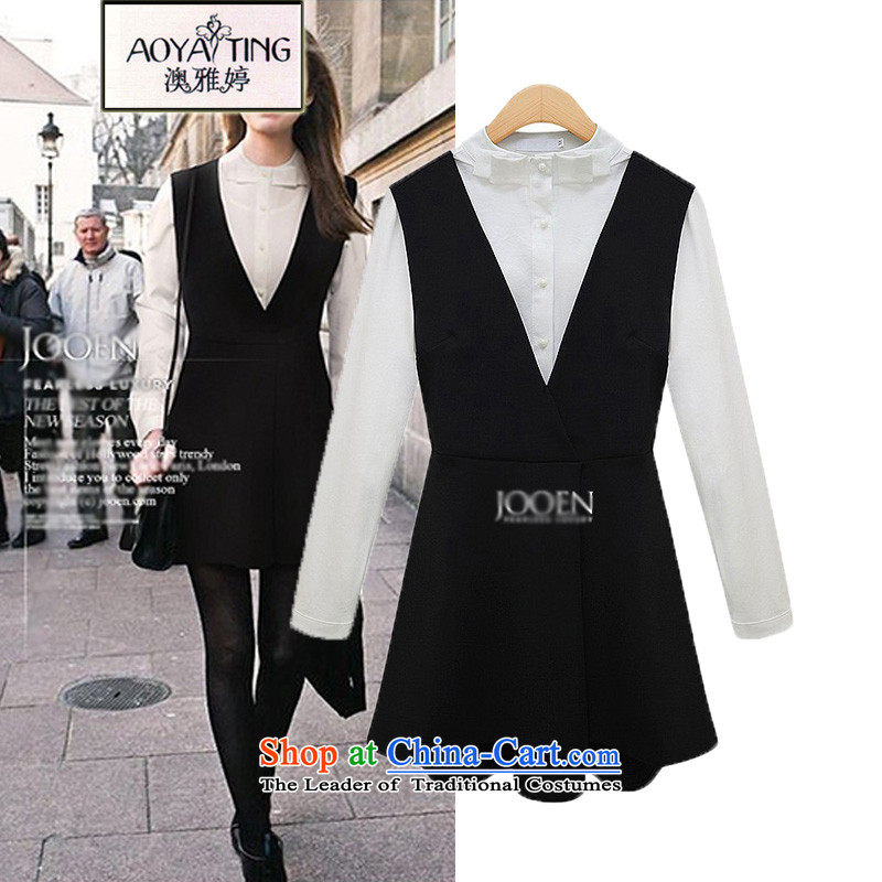 O Ya-ting to increase women's code 2015 autumn and winter fat mm New Kit Video thin shirt two kits for women wear skirts women skirts Sau San Black and White 4XL recommends that you 160-180 catty
