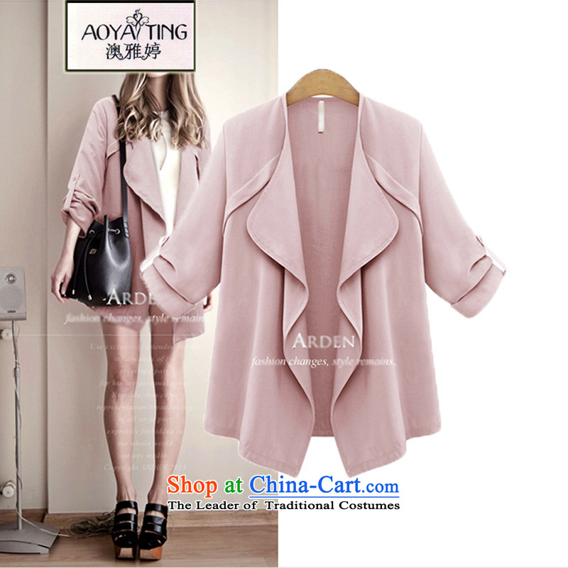 O Ya-ting to increase women's code 2015 autumn and winter new thick mm thin long-sleeved female graphics windbreaker. Long wild jacket female D321 leather pink4XLrecommends that you 160-180 catty