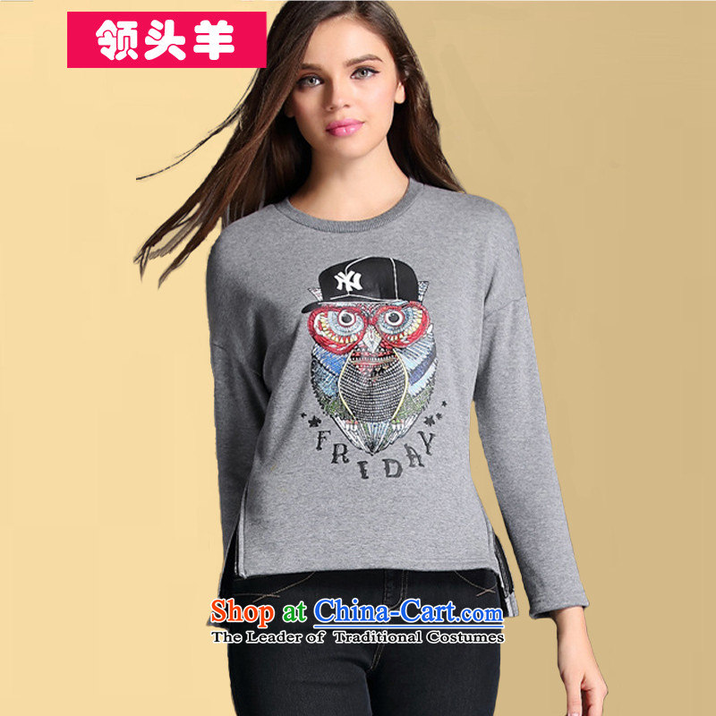 2015 Leader of the new larger women Fall/Winter Collections thick mm200 catty leisure sweater sweater thick sister thick plus lint-free female sweater gray stamp 3XL recommendations 140-160 characters