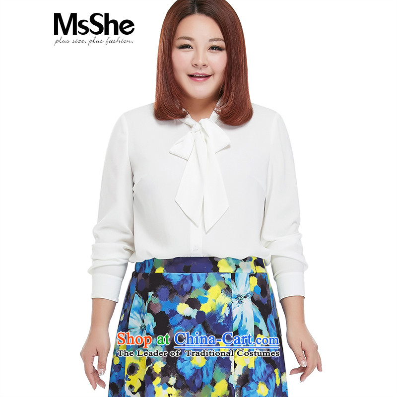 To increase the number msshe women 2015 new mm thick autumn Bow Tie long-sleeved shirt shirt 10347�L White